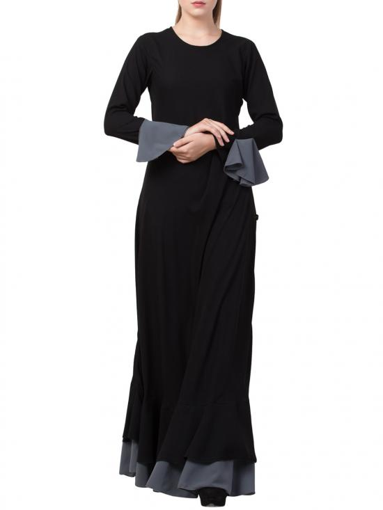 Mushkiya Nida Matte Biased Cut with frills in Layers Designer Abaya in Black and Grey