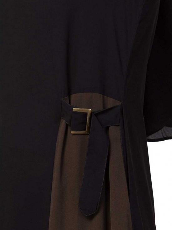 Nida Matte Abaya With Pockets and Buckled Belts In Black and Olive