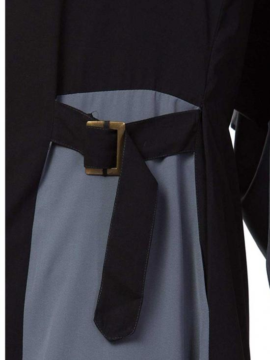 Nida Matte Abaya With Pockets and Buckled Belts In Black and Grey