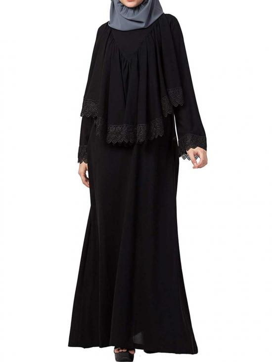 Nida Matte Modest Dress With Extra Layer & Lace Work In Black