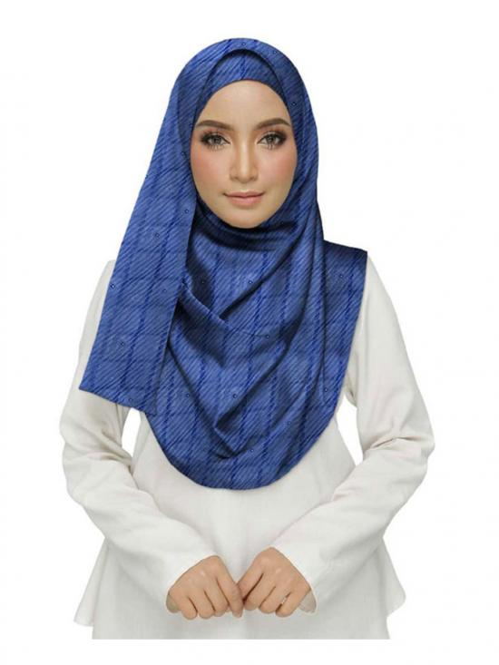 Crush Cotton Designer Diamond Studed Stole In Blue