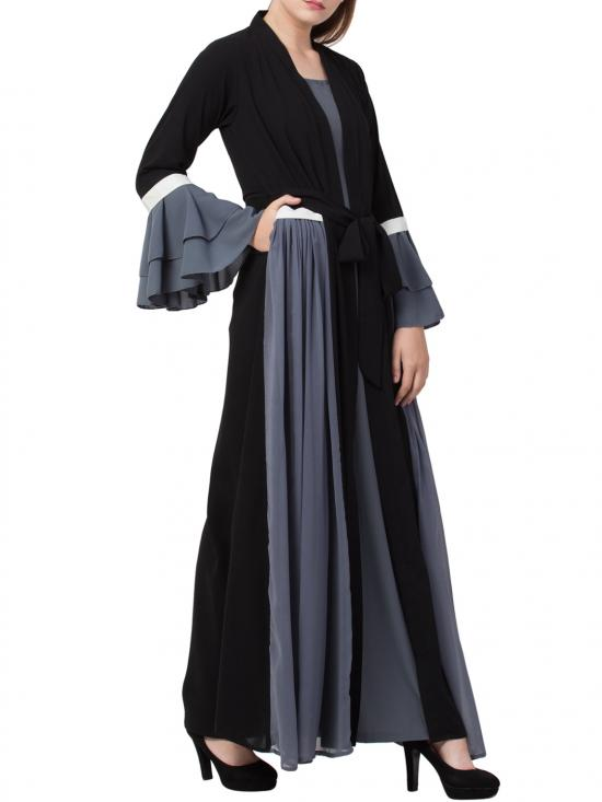 Nida Matte Abaya Like Dress with Attached Shrug and a Belt in Grey and Black