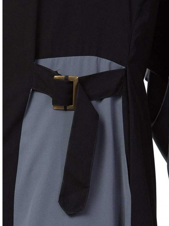 Mushkiya Nida Matte Abaya With Pockets & Buckled Belts In Black & Grey
