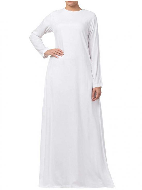 Rayon A Line Abaya With Side Pockets In White