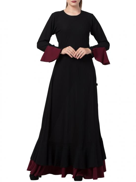 Nida Matte Biased Cut With Frills In Layers Designer Abaya In Black And Wine