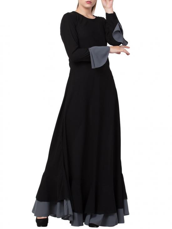 Nida Matte Biased Cut with frills in Layers Designer Abaya in Black and Grey