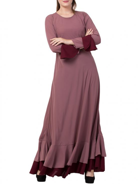 Nida Matte Biased Cut With Frills In Layers Designer Abaya In Puce Pink And Wine