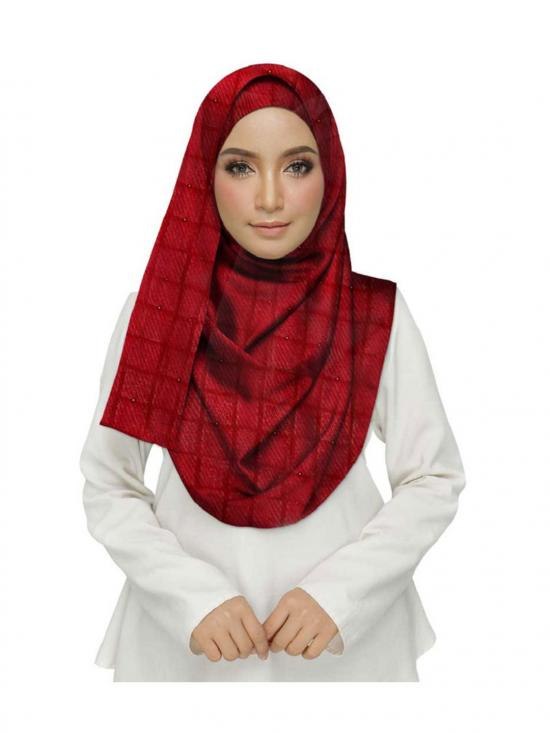 Crush Cotton Designer Diamond Studed Stole In Maroon