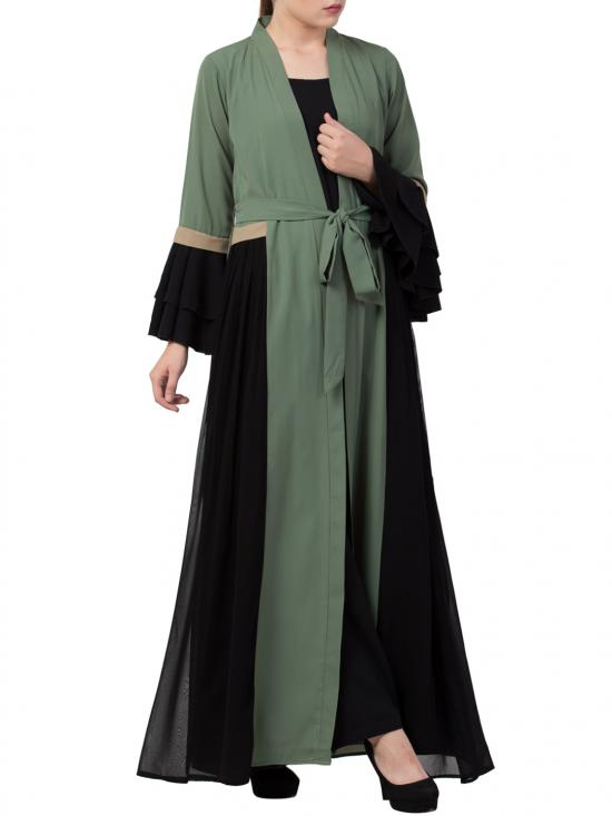 Nida Matte Abaya Like Dress with Attached Shrug and a Belt in Jade Green and Black