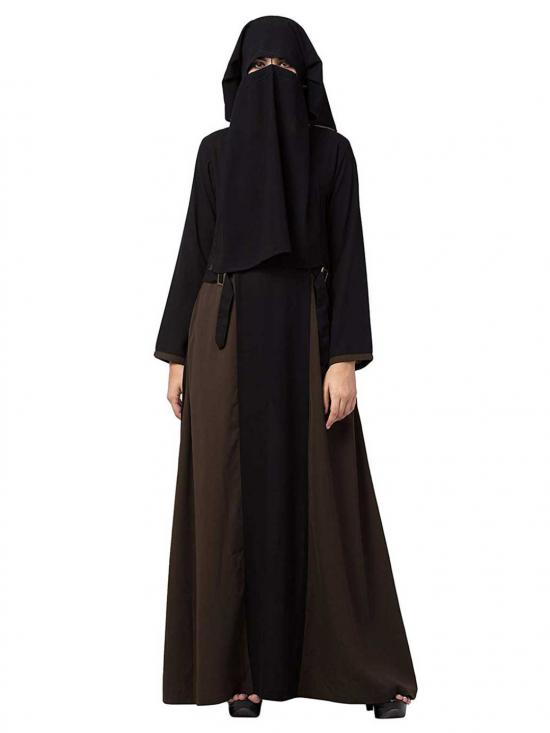 Nida Matte Abaya With Pockets & Buckled Belts In  Black & Olive