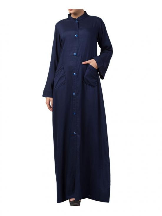 Cotton Front Open Abaya in Navy Blue