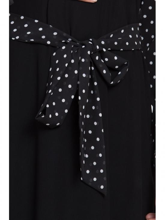 Nidamatte Polka Dot Stylish Abaya In Black& White
