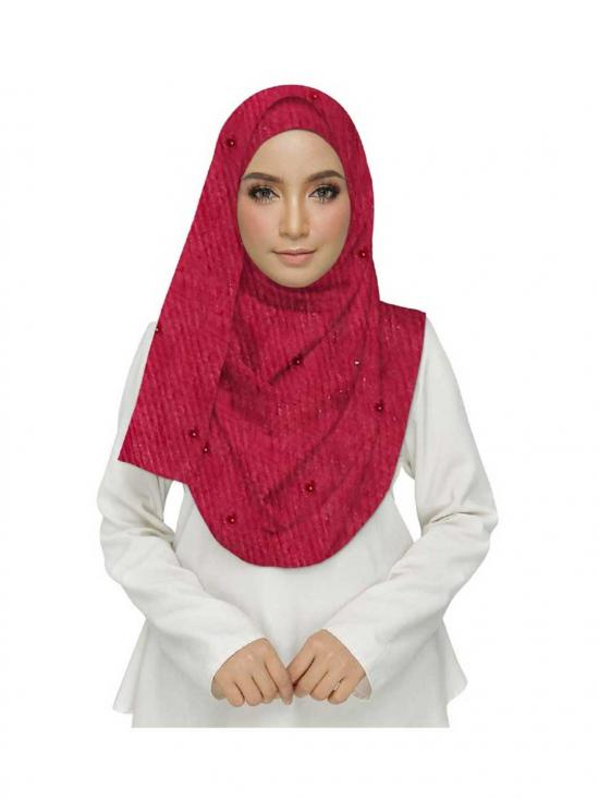 Premium Cotton Crush Stole In Maroon