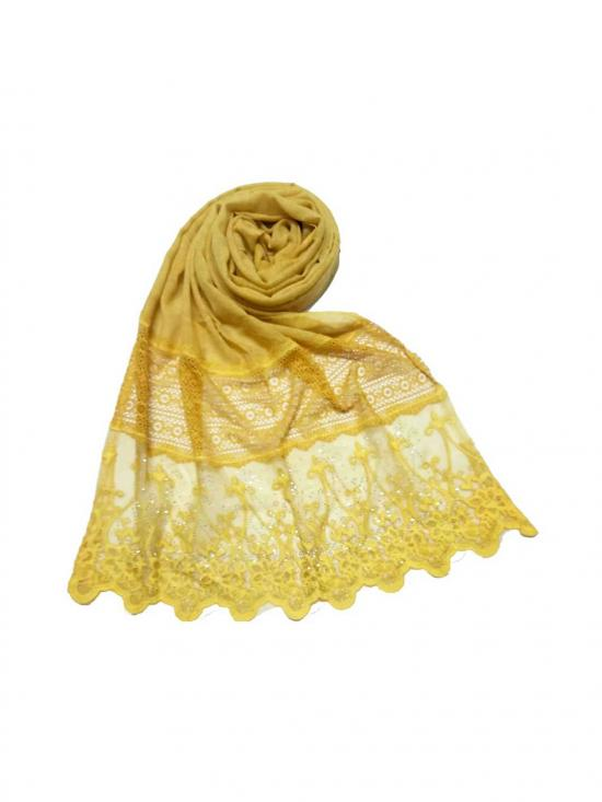Stole For Women Premium Cotton Diamond Studed Stole in Yellow