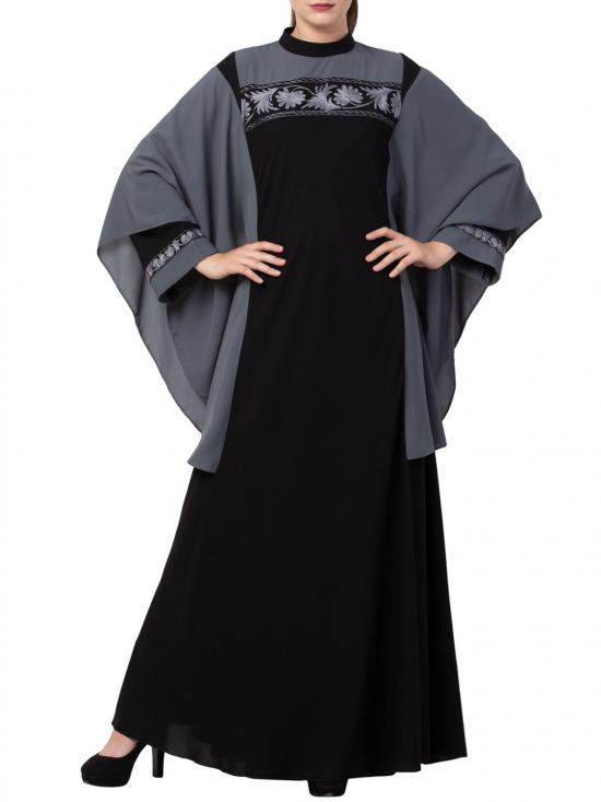Nida Matte Kaftan Like Burqa with Hand Embroidery in Black and Grey