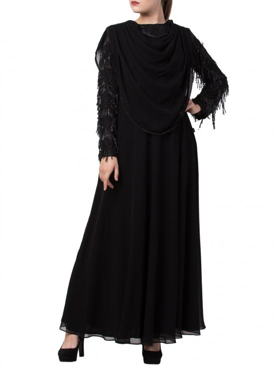 Nida Matte True Designer Abaya with Attached Shawl and Fancy Body in Black