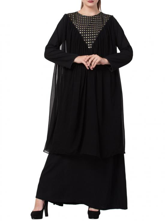 Nida Matte Dual Layer Designer Abaya With Free Matching Stole In Black