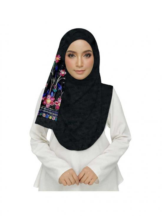Premium Cotton Choice Designer Embroidered Diamond Studed Stole In Black