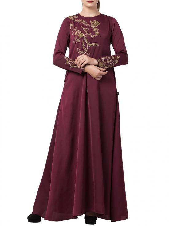 Premium Nida Designer Abaya With Hand Work On Yoke And Sleeves With A Matching Stole In Burgundy