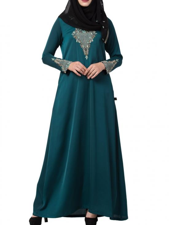 Premium Nida Designer Abaya with Hand Work on Yoke and Sleeves with a Matching Stole in Teal
