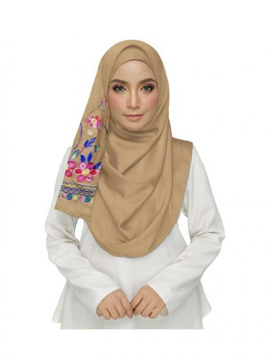 Premium Cotton Choice Designer Embroidered Diamond Studed Stole In Brown