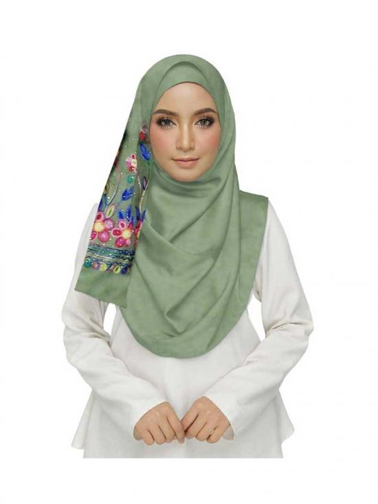 Stole For Women Premium Cotton Choice Designer Embroidered Diamond Studed Stole in Green