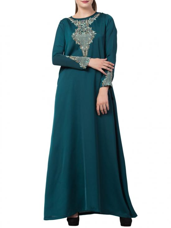 Mushkiya Premium Nida Designer Abaya with Hand Work on Yoke and Sleeves with a Matching Stole in Teal