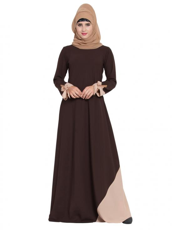 Mushkiya Nidamatte New Design Abaya with Designer Sleeves In Brown