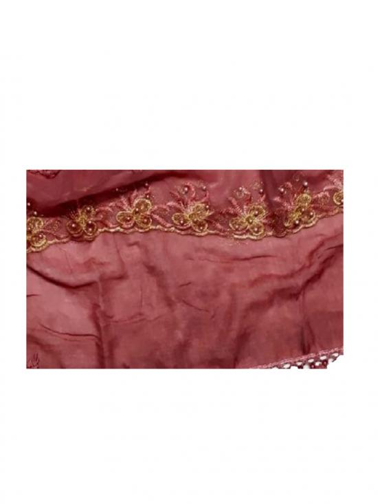 Premium Cotton Triple Border String Studed Stole in Maroon