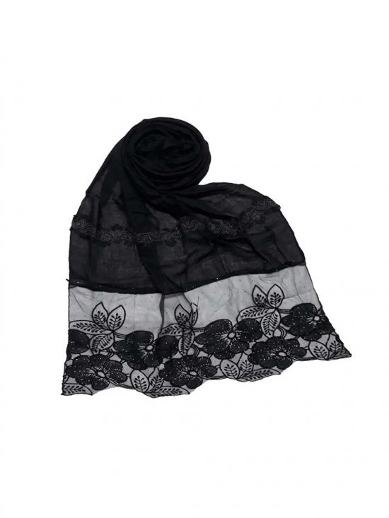 Premium Cotton Designer Diamond Flower Bordered Stole In Black