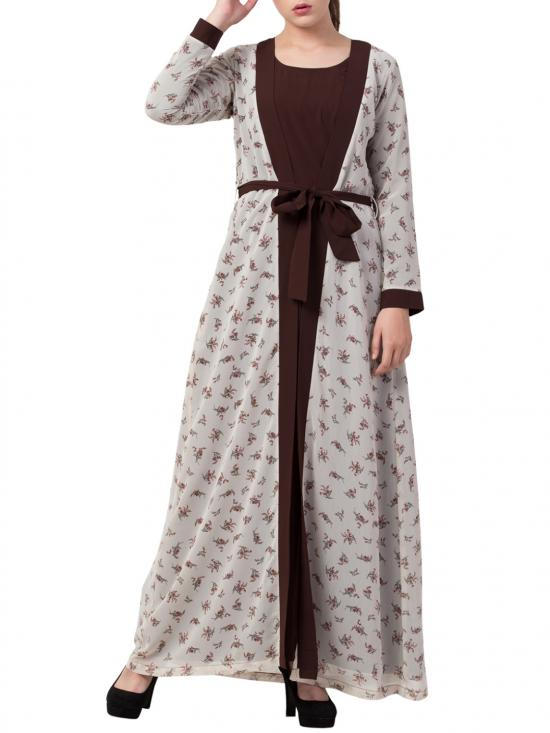 Nida Matte Abaya With Attached Shrug and a Matching Belt in Brown and Multi Colour