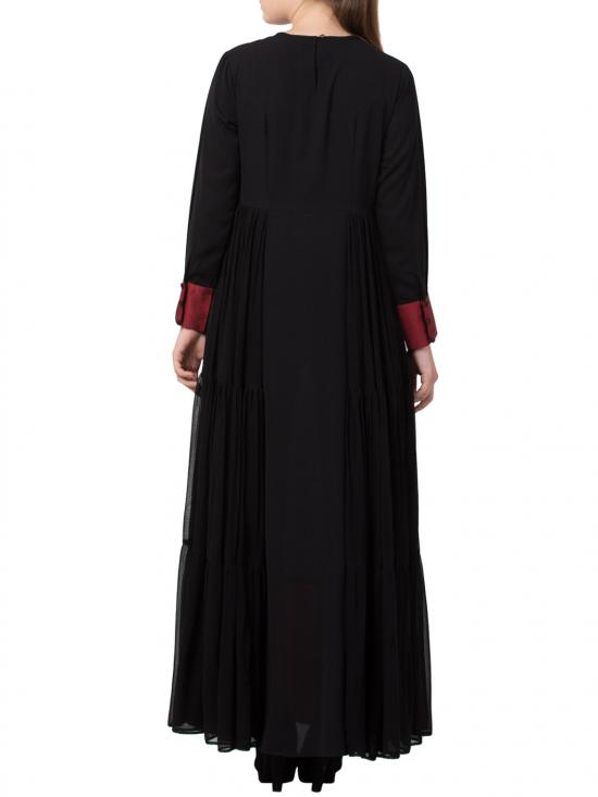 Nida Matte Modest New Style Evening Dress With a Free Matching stole in Black and Red