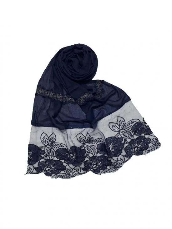 Premium Cotton Designer Diamond Flower Bordered Stole in Blue
