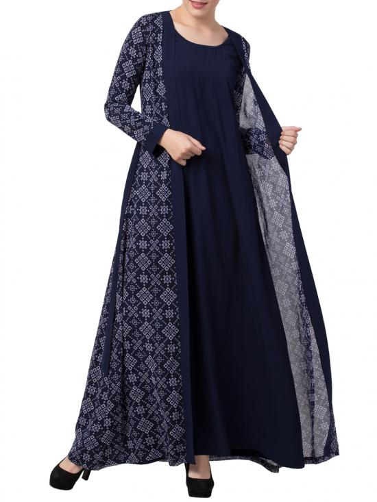 Nida Matte Abaya With Attached Shrug and a Matching Belt in Blue