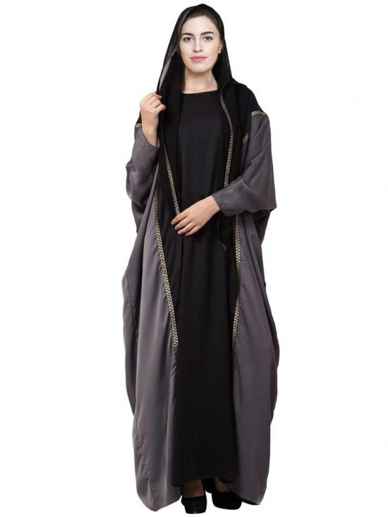 Premium Nida Designer Abaya with lace work and attached hood in Black and Grey