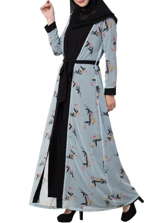 Nida Matte Abaya With Attached Shrug and a Matching Belt in Sky Blue and Black