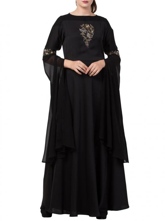 Premium Nida Modern, Modest And Elegant Dress With Hand Work On Yoke And Sleeves With A Free Matching Stole In Black