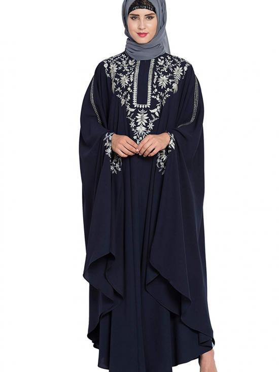 Nidamatte Irani Kaftan Fashionable Abaya With Embroidery In Navy Blue