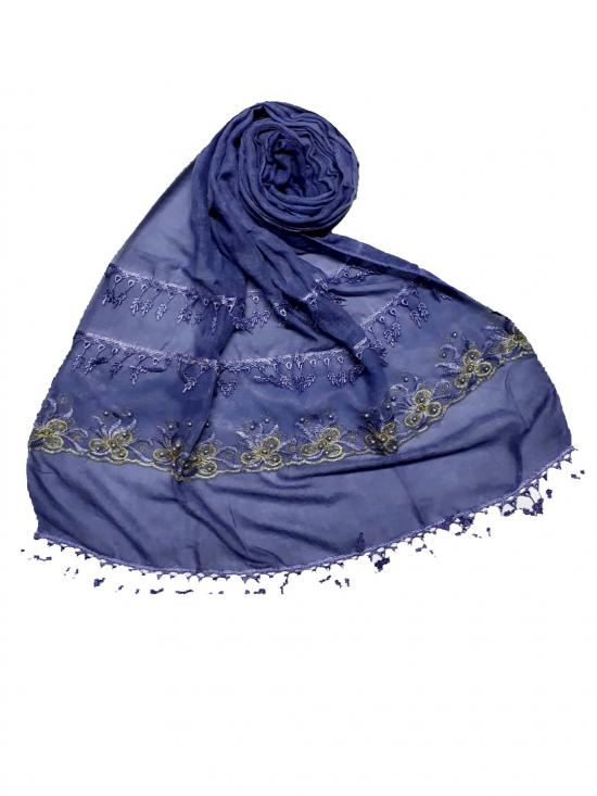Premium Cotton Triple Border String Studed Stole Blue