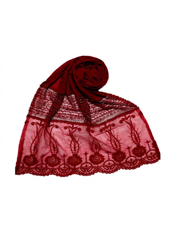 Stole For Women Premium Cotton Designer Diamond Studed Stole in Maroon