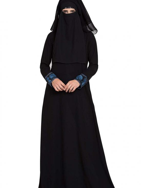 Nida Matte Embroidered Burqa with Triple Layered Naqaab And Nose Piece in Black And Blue