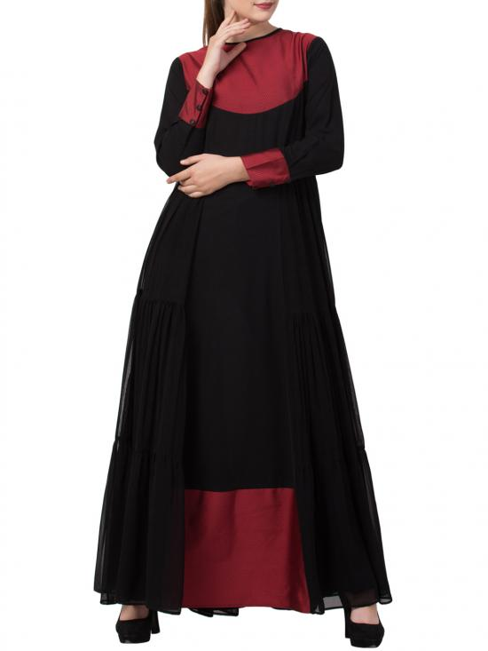 Mushkiya Nida Matte Modest New Style Evening Dress With a Free Matching stole in Black and Red