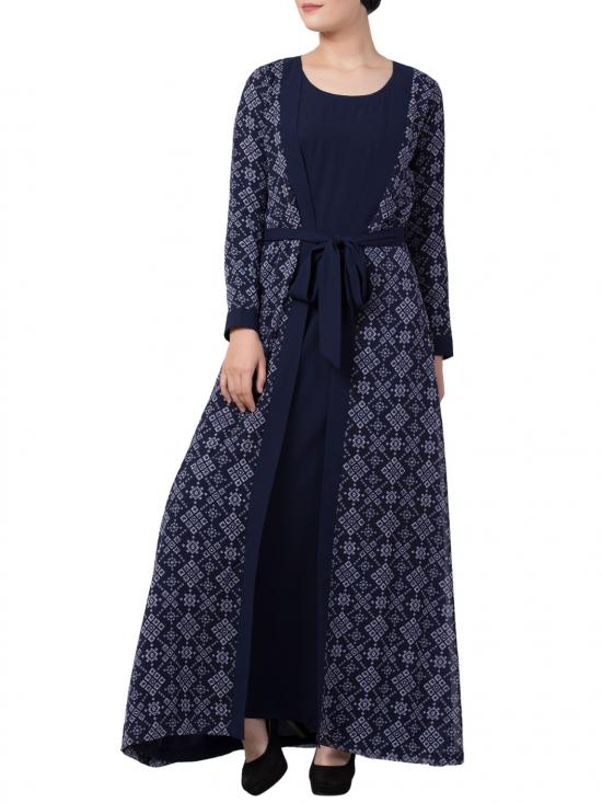 Mushkiya Nida Matte Abaya With Attached Shrug and a Matching Belt in Blue