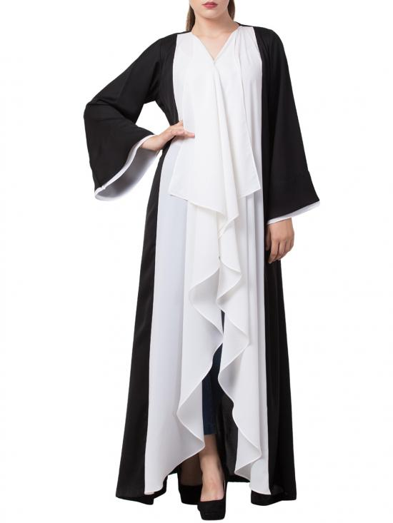 Nida Matte Beautiful Shrug Like Front Open Abaya In Black And White