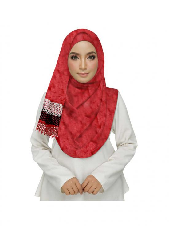 Premium Cotton Three Liner Bordered Stole In Red