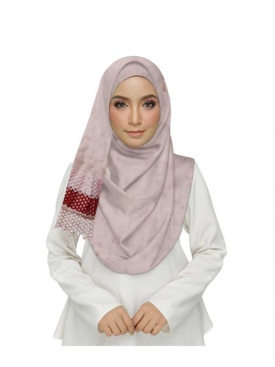Premium Cotton Three Liner Bordered Stole In Pink