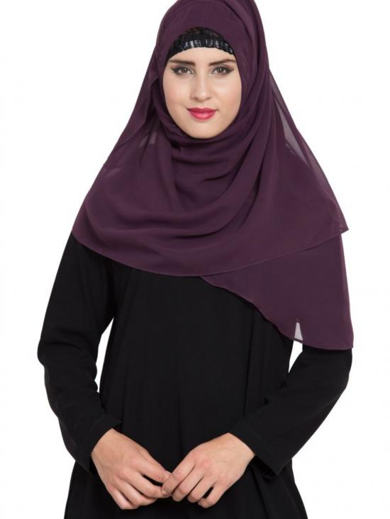 Super Fine Georgette Ready To Wear Instant Hijab In Purple