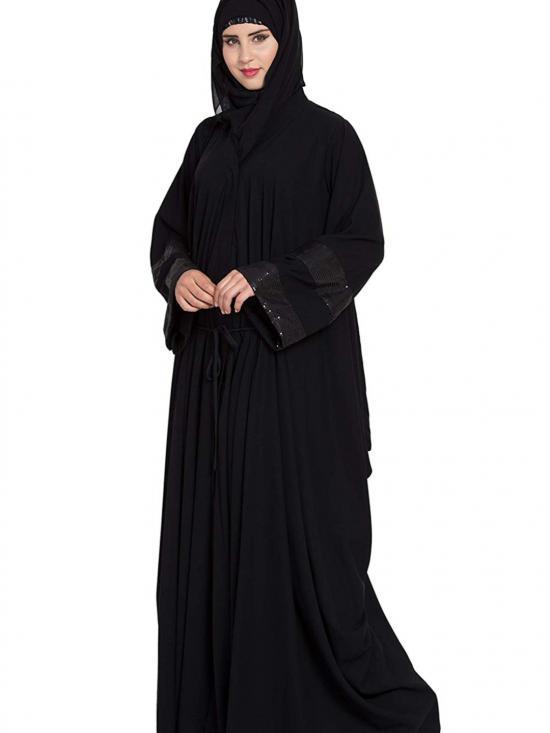 Nida Matte Designer Kaftan Abaya With Side Cowls in Black