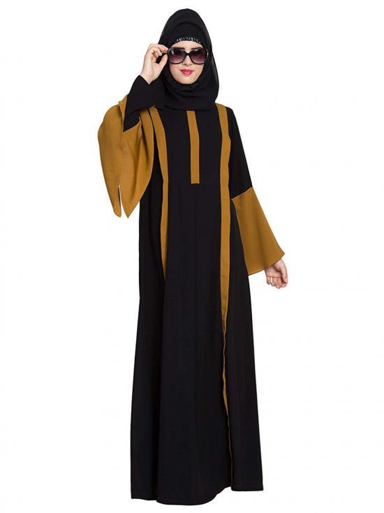 Nida Matte Designed Abaya In Golden brown & Black