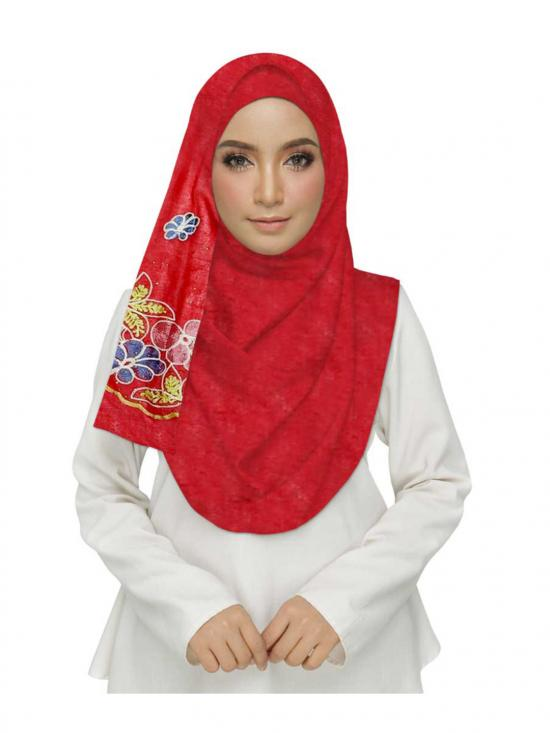 Premium Cotton Stole With Diamond Flower In Red